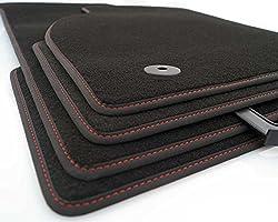 kh Teile Fußmatten Corsa E Original Premium Qualität Velours Autoteppich 4-teilig schwarz, Rote Ziernaht Nubuk