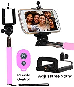 Selfie Stick Monopod With Bluetooth Remote Wireless Shutter Connectivity Compatible For Alcatel OneTouch Pixi 4 (4)-BABY PINK