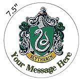 Kuchendekoration Hogwarts-Häuser-Logo aus Harry Potter, essbarer Zuckerguss, vorgeschnitten–personalisierbar, 4. Slytherin 7.5inch Round