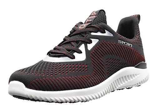 JOOMRA Herren Indoor und Outdoor Fitness Schuhe Turnschuhe eignet für schwerere Läufer Damen Jungen Mädchen Frauen Männer Sneaker Rot Schwarz Weiß 41 EU (42 Asien) (Frauen Kinder Schuhe)