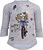 Pretty Girl Mädchen Kinder Sweatshirt Pullover Wende Pailletten Bluse Langshirt Pulli (122-128, Motiv 2 Grau)