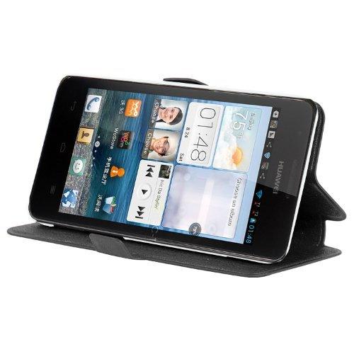 Cadorabo Hülle für Huawei ASCEND G520 / G525 - Hülle in ICY SCHWARZ – Handyhülle mit Standfunktion und Kartenfach im Ultra Slim Design - Case Cover Schutzhülle Etui Tasche Book