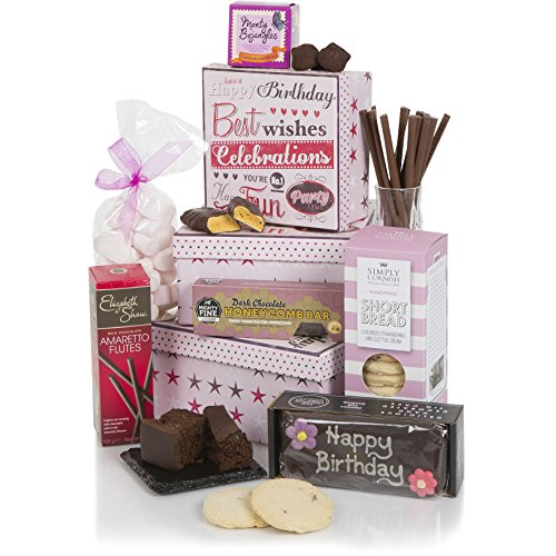 Birthday Tower For Her - Hampers And Gift Baskets - Chocolates, Biscuits and Tea!