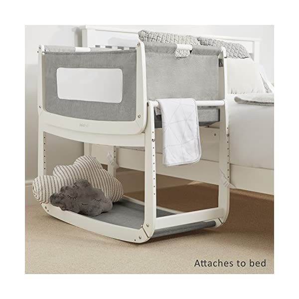 SnuzPod 3 Bedside Crib - Dusk Grey Snuz SnuzPod 3 has added functionality, a lighter bassinet and a more breathable sleeping environment. More than just a bedside crib; use as a bedside crib, stand alone crib or moses basket/bassinet. Simply attach the crib to your bed using straps provided (fits frame and divan beds) and your ready use as a bedside crib. The 9 different height settings allow you to ensure the crib is the right height for your bed (31-63cm) New! SnuzPod 3 now comes with an optional reflux function, by tilting the crib and setting an incline to reduce reflux symptoms little one can get a better nights sleep. 7