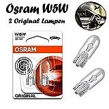 2x Osram Original W5W 12V T10 W2.1x9x5d 2825-02B Standard Ersatz Halogen Birne für Standlicht Positionslicht Bremslicht Hecklicht Innenlicht Leselicht Blinker seitlich E-geprüft