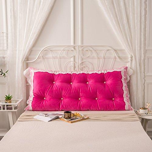 MMM- Coussin de lit de dentelle de coton Coussin de lit de chevet de grand coussin ( Couleur : Rose rouge , taille : 120*75cm )
