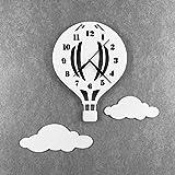 BABEES Kinder Wanduhr Ballon mit Wolken, Uhr ohne Tickgeräusche, Kinderuhr Heißluftballon für Kinderzimmer, Lautlos Uhrwerk, Wanddeko Scandi Deko Junge Mädchen Unisex weiß