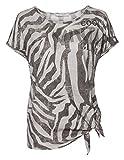 Shirt mit Allover-Tiger-Print, Knoten, Strass und Glitter