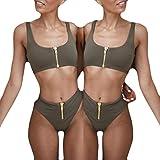Bikini Damen Push Up LHWY Frauen High Waist Hosen Reißverschluss Bikini Set Gepolsterter Badeanzug Sommer Vintage Beachwear Strand Sportbekleidung Lässig (M, Army Green)