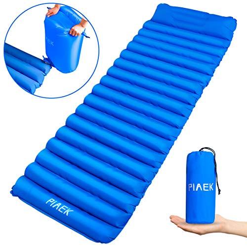 PiAEK Selbstaufblasende Isomatte, Camping Isomatte Outdoor Ultraleicht Kleines Packmaß, Aufgeblasen durch Airbag,isomatte faltbar aufblasbare luftmatratze (190x56x9cm)(Blau)