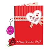 #10: Sky Trends Valentine Gift For Girl Lovely Greeting Card Keychain With Artificial Rose Best Gift For Wife