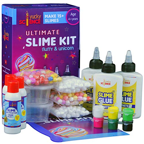 Yucky Science Ultimate Slime Making Kit for Kids Fluffy and Unicorn .Make 15+ Slimes. Age 4 Years and Above (Multicolour)