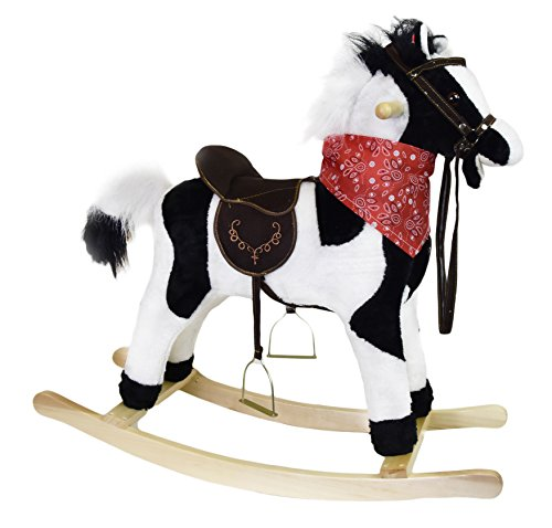 Childs Kids Plush Rocking Horse Neighing Sounds Moving Mouth Tail Ride On Toy (Black/White)