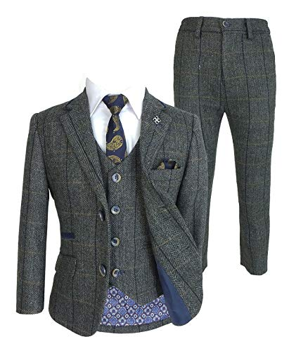 a1142f97c Costume 3 pièces style Peaky Blinders laine tweed carreaux chevrons ...