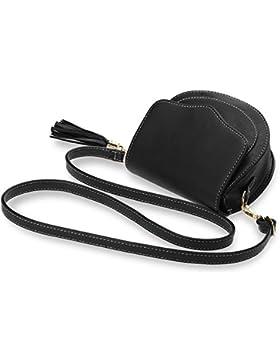 stilvolle Damentasche kleine halbrunde Messengertasche mit Klappe schwarz