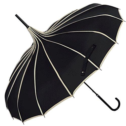 Fansport Pagoden Regenschirm Sonnenschirm Regenschirm Vintage Travel Stick Regenschirm mit Hakengriff -