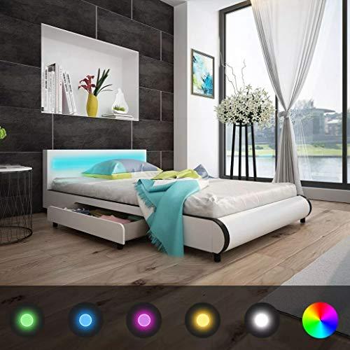 Vislone Lit à 2 Tiroirs et Tête de Lit LED 140 cm Cuir Synthétique Blanc pour Chambre ou Dortoir 219 x 147,5 x 72 cm