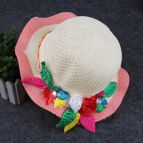 JJJ Kinder Strohhut, Baby Beach Gear mit Sonnenschutz Mädchen Cool Hut Sun Beach Strohhut Geeignet für Mädchen Baby,Orange