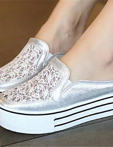 ShangYi gyht Scarpe Donna - Ballerine - Casual - Punta arrotondata - Piatto - Finta pelle - Bianco / Argento / Dorato White