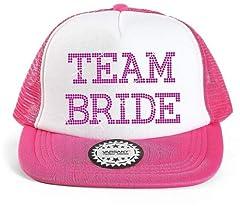 """Idea Regalo - Cappello da baseball con scritta """"Team Bride"""" con strass, adatto per feste di nozze Pink"""