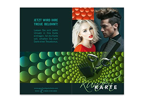 100 Stk. Kundenkarten für Friseure, Coiffeure, Haarstudios, Haarstyling K545