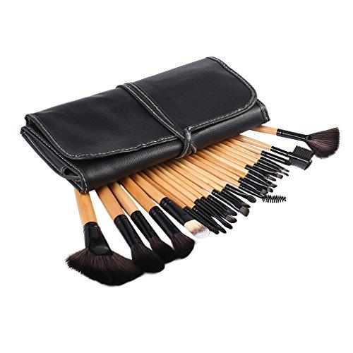 Set de Brochas de Maquillaje 24Pcs, Brushas Profesional Cosméticas ideal para Maquillaje de Bases, Cejas, Labios, naríz, Pestañía y Sombra de ojos