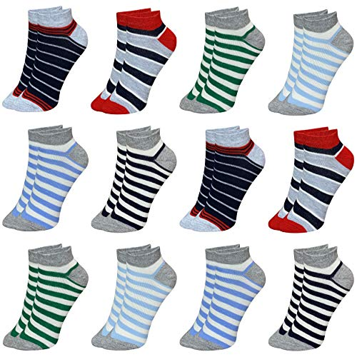 12 Paar Kinder Jungen Mädchen UNI Baumwolle Socken Kindersocken Sneaker (33-36, Modell 3)