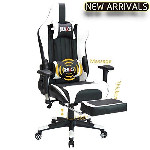 Computer Spielstuhl mit Fußstütze - Einstellbare Drehenende zum Haus Office Liegestuhl mit Hohen Rücken Kopfstütze und Taille-Massage Unterstützung Lehnstuhl für PC(Schwarz & Weiß)