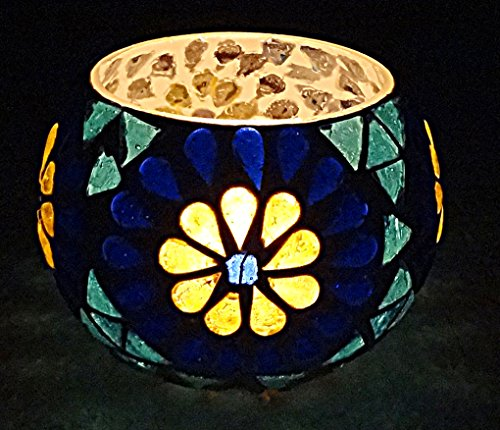 Home Decor Mosaic Glass Candle Holders 3 Inches