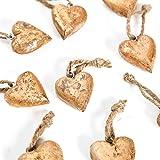 10 Stück kleine kupfer gold-farbene Holz-Herzen 4 + 5 cm Schnur mit Schnur Herz-ANHÄNGER zum Aufhängen - Weihnachtsdeko Christbaumschmuck Baumschmuck Geschenkanhänger Zierschmuck