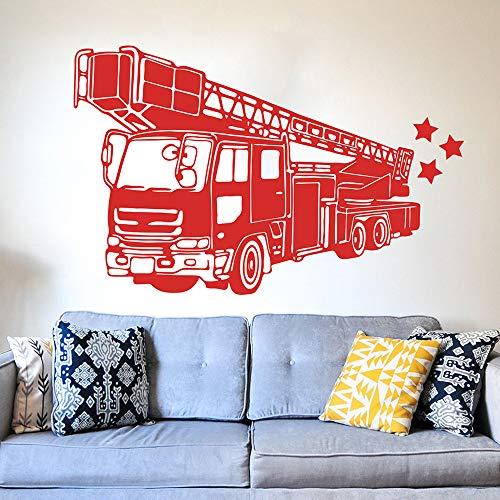 Feuerwehrauto Feuerwehrmann Wandaufkleber Spielzimmer Schlafzimmer Feuerwehrauto Hydrant Auto Fahrzeug Wandtattoo Wohnzimmer Vinyl ~ 1 140 * 90 cm -