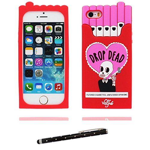 Hülle iPhone 5, iPhone 5S Case TPU 3D Cartoon Muscheln Bowknot Handyhülle iPhone SE 5s 5G 5C Cover Shell, haltbare weiche Skin Staub-Beleg-Kratzer beständig und Touchstift rot