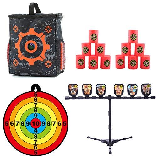 Seciie Kit de Cible pour Nerf, 1 Sac de Rangement Munitions + Cible de Fléchette de Ventouse + 12 Barils de Cible + 1 Tir Cible pour Nerf, Jeux de Tir Cadeau de Noël pour Enfants