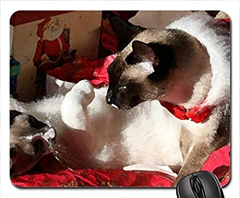Christmas Siamese cats Mouse Pad, Mousepad (Cats Mouse Pad, Watercolor style) by icecream design