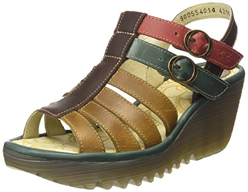 Fly LondonYgor - Sandali donna Multicolore (Camel/Petrol/Dk.Brown/Red)