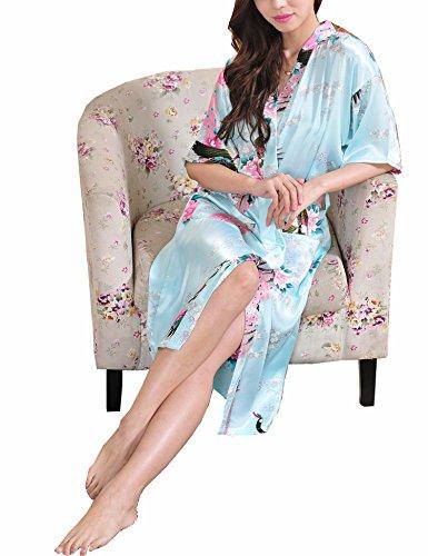 Surenow Weibliche Damen Muster Exotische Pfau Satin Blumen Schlafanzug Nachthemd Bademantel Sleepwear Hellblau