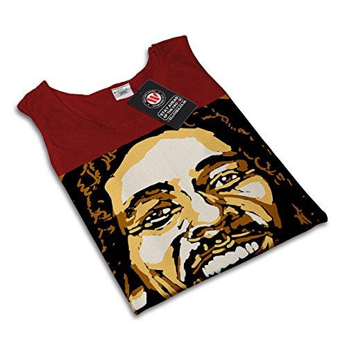 Bob Marley Sänger Berühmt Star Damen Schwarz S-2XL Muskelshirt | Wellcoda Rot