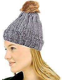 9f176a6c594 Krystle Women s Winter Warm Fur Knit Knitted Bobble Pom Beanie Bobble Baggy  Crochet Ski Cap Hat