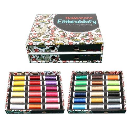 Ackermann Embroidery Box - Stickgarn, 36 Farben á 260m, Stärke 40 -