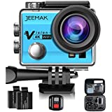JEEMAK 4K Action Cam 16MP WiFi Waterproof Sports Camera 170 Ultra Wide Angle Len With SONY Sensor,Remote Control 2 Pcs Rechargeable Batteries And Portable Package Blue