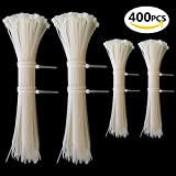 Kabelbinder Set Weiss, Profi Kabelbinderset Weiß 100 mm / 200 mm, Cable Ties für PC, Fahrrad, Industrie ( 400 Stück )