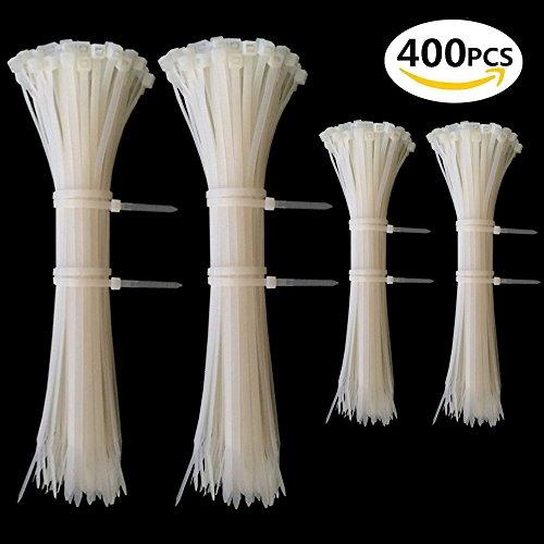 Kabelbinder Set Weiss, Profi Kabelbinderset Weiß 100 mm / 200 mm, Cable Ties für PC, Fahrrad, Industrie ( 400 Stück ) (Kabelbinder Weiß)