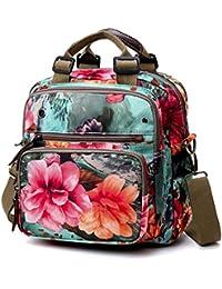 4abfe5c7f49 TOOGOO bolsa verde floral Bolsa de mama bolsa multiuso doble espalda  diagona del hombro de Oxford color de…