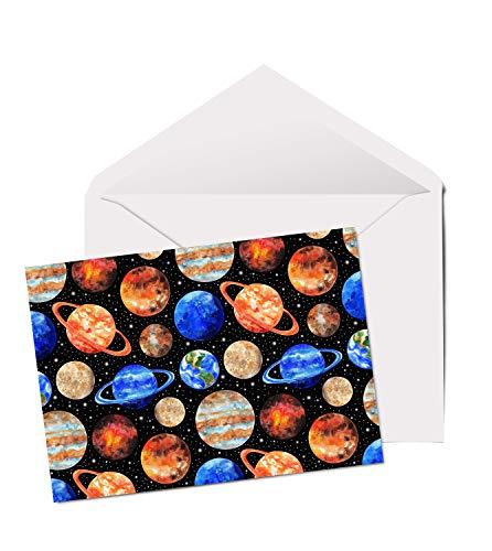 13135 Grußkarte, A5, blanko, Motiv Solar System Planeten - Dv-system