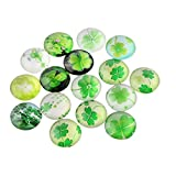 PandaHall Grün Farbe vierblättriges Kleeblatt Bild halbrund / Kuppel Glascabochons ,Größe 12x4 mm