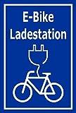 Melis Folienwerkstatt Schild - E-Bike Lade-Station - 30x20cm | Bohrlöcher | 3mm Aluverbund - S00050-067-F -20 Varianten
