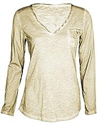 Mevina Damen Langarm Shirt Serafino Ausschnitt Used Look Longsleeve Meliert Regular Fit