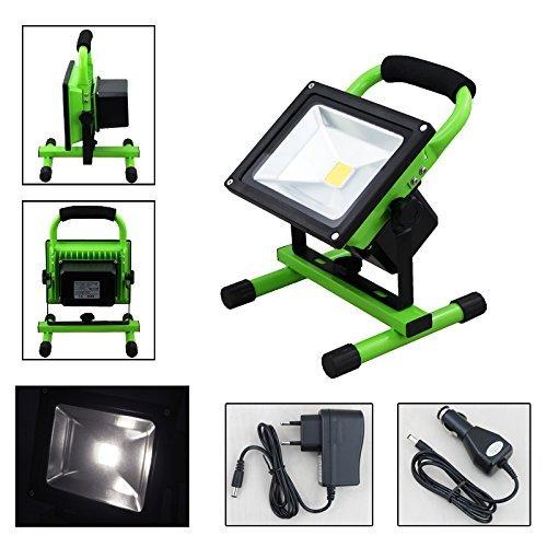 VINGO® 30W Handlamp Akku LED Tragbare Scheinwerfer Strahler IP65 Arbeitsleuchte Baustrahler Akku Fluter Flutlicht(Kaltweiss Grün)