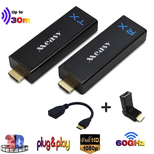 MEASY W2H Nano Wireless HDMI Extender / Sender und Empfänger bis zu 30m / 100ft Unterstützung 60 GHz konkurrenzfähig mit 3D & 1080P, Plug-and-Play-Silberfarbe -