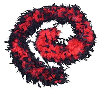 Feather Boa 80g. Red/Black Accessory Fancy Dress